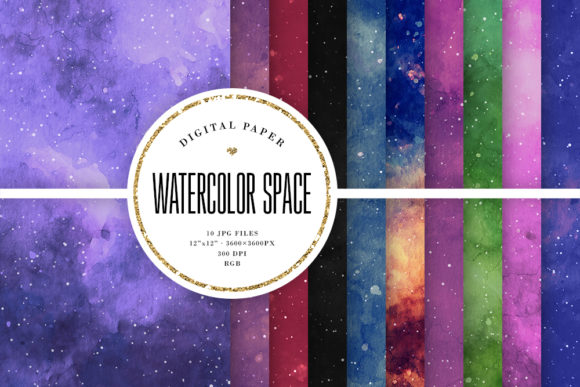Print on Demand: Watercolor Space Backgrounds Graphic Backgrounds By Sabina Leja