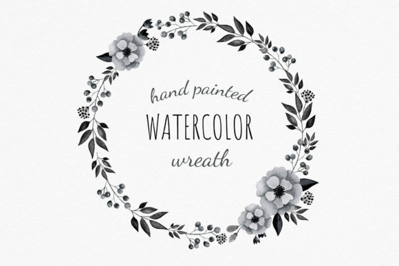 Download Free Watercolor Black Anemones Wreath Clipart Graphic By Reddotshouse for Cricut Explore, Silhouette and other cutting machines.