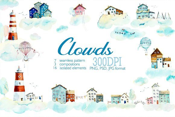 Watercolor Houses in Clouds Gráfico Ilustraciones Por Мария Кутузова