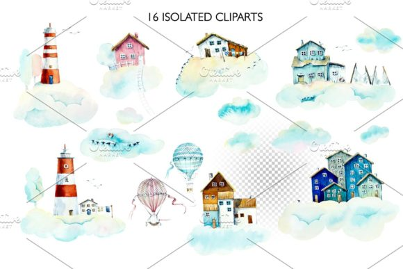 Download Free Watercolor Houses In Clouds Graphic By Mariya Kutuzova Creative for Cricut Explore, Silhouette and other cutting machines.