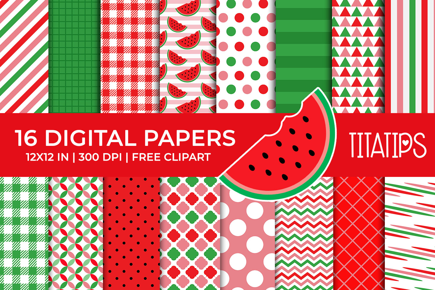 Download Free Watermelon Digital Papers Set Graphic By Titatips Creative Fabrica for Cricut Explore, Silhouette and other cutting machines.