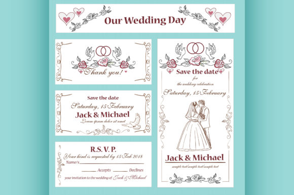 Download Free Wedding Invitation Thank You Card Graphic By Netkov1 Creative for Cricut Explore, Silhouette and other cutting machines.