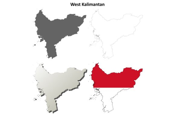 Download Free West Kalimantan Outline Map Set Graphic By Davidzydd Creative for Cricut Explore, Silhouette and other cutting machines.