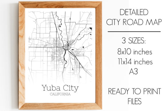Print on Demand: Yuba City California City Map Graphic Photos By SVGExpress