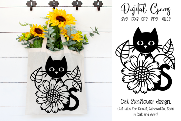 Cat and Sunflower Design Graphic Crafts By Digital Gems