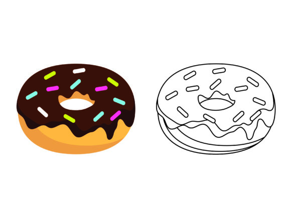 Download Free Chocolate Donuts Kids Coloring Vector Graphic By 1tokosepatu for Cricut Explore, Silhouette and other cutting machines.