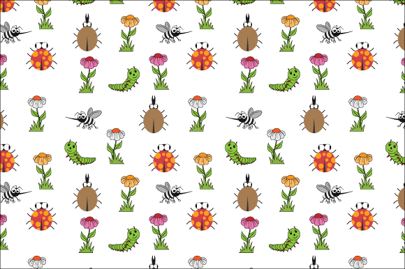 Download Free Cute Insects Pattern Graphic By Curutdesign Creative Fabrica for Cricut Explore, Silhouette and other cutting machines.