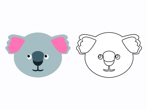 Download Free Cute Koala Head Kids Coloring Vector Graphic By 1tokosepatu for Cricut Explore, Silhouette and other cutting machines.