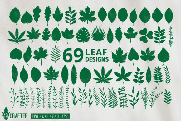 Download Free Leaf And Leaf Branch Bundle Graphic By Great19 Creative Fabrica for Cricut Explore, Silhouette and other cutting machines.