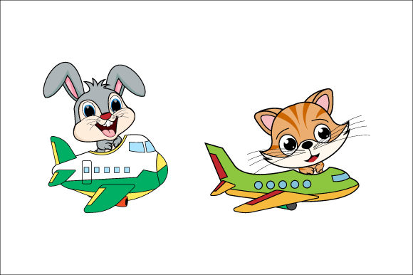 Download Free Rabbit And Cat Riding A Plane Graphic By Curutdesign Creative for Cricut Explore, Silhouette and other cutting machines.