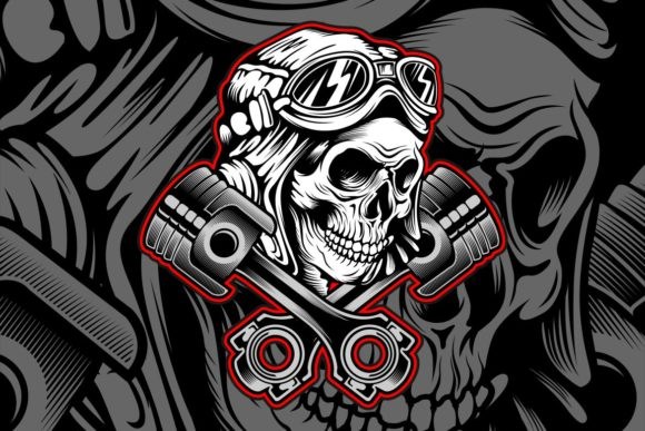 Skull Helmet with Piston Graphic Illustrations By Epic.Graphic