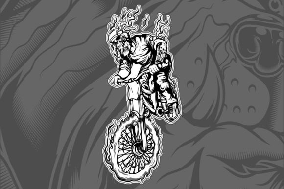 Download Free Skull Riding A Bicycle Graphic By Epic Graphic Creative Fabrica for Cricut Explore, Silhouette and other cutting machines.