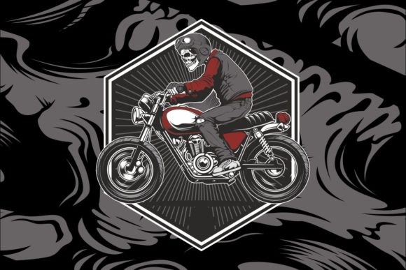 Skull Wearing a Helmet Graphic Illustrations By Epic.Graphic