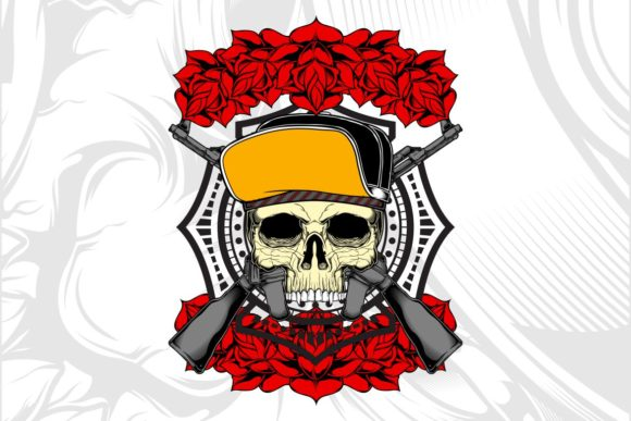 Skull Wearing Hat with Rose Graphic Illustrations By Epic.Graphic