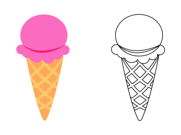 Download Free Strawberry Ice Cream Kids Coloring Graphic By 1tokosepatu SVG Cut Files