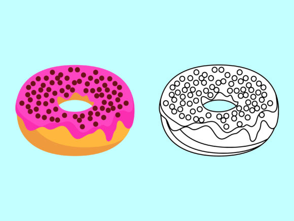 Download Free Strawberry Pink Donuts Kids Coloring Graphic By 1tokosepatu for Cricut Explore, Silhouette and other cutting machines.