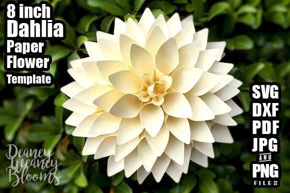 Download Free 8 Inch Dahlia Paper Flower Template Graphic By for Cricut Explore, Silhouette and other cutting machines.