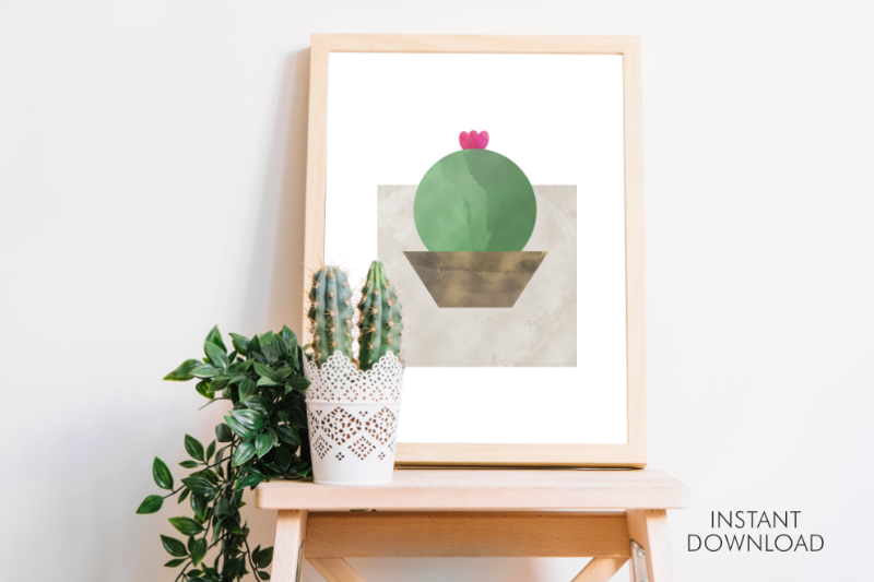 Download Free Abstract Cute Cactus Printable Decor Art Graphic By Artsbynaty for Cricut Explore, Silhouette and other cutting machines.