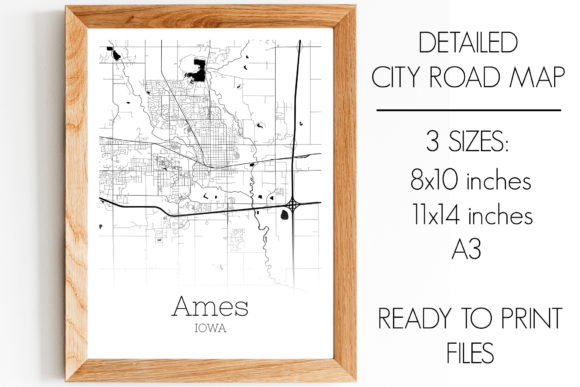 Print on Demand: Ames Iowa City Map Gráfico Fotografías Por SVGExpress