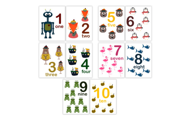 Animal Numbers Flash Cards for Kids Graphic Teaching Materials By Igraphic Studio