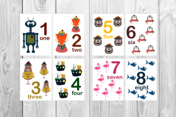Animal Numbers Flash Cards for Kids Graphic Teaching Materials By Igraphic Studio - Image 2