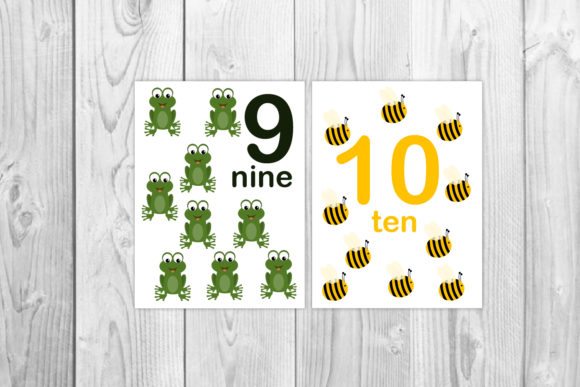 Animal Numbers Flash Cards for Kids Graphic Teaching Materials By Igraphic Studio - Image 3