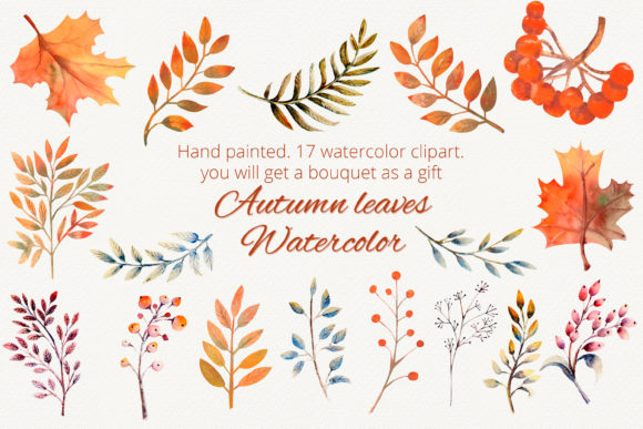 Download Free Autumn Leaves Watercolor Clipart Graphic By Natika Art Creative Fabrica for Cricut Explore, Silhouette and other cutting machines.