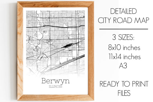 Download Free Berwyn Illinois City Map Graphic By Svgexpress Creative Fabrica for Cricut Explore, Silhouette and other cutting machines.