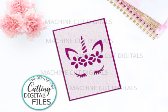 Download Free Birthday Unicorn Face With Flowers Card Graphic By Cornelia for Cricut Explore, Silhouette and other cutting machines.