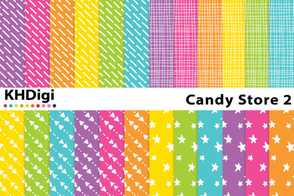 Print on Demand: Candy Store 2 Digital Paper Graphic Backgrounds By KHDigi