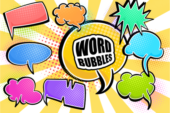 Print on Demand: Comic Word Bubbles Retro Speech Clipart Grafik Plotterdateien von Prawny
