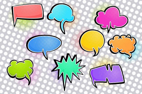 Print on Demand: Comic Word Bubbles Retro Speech Clipart Graphic Crafts By Prawny - Image 2