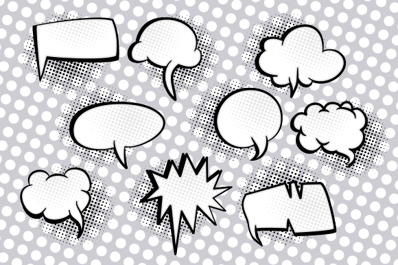Print on Demand: Comic Word Bubbles Retro Speech Clipart Graphic Crafts By Prawny - Image 3