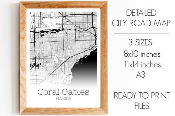 Print on Demand: Coral Gables Florida City Map Graphic Photos By SVGExpress