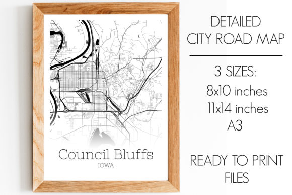 Print on Demand: Council Bluffs Iowa City Map Graphic Photos By SVGExpress