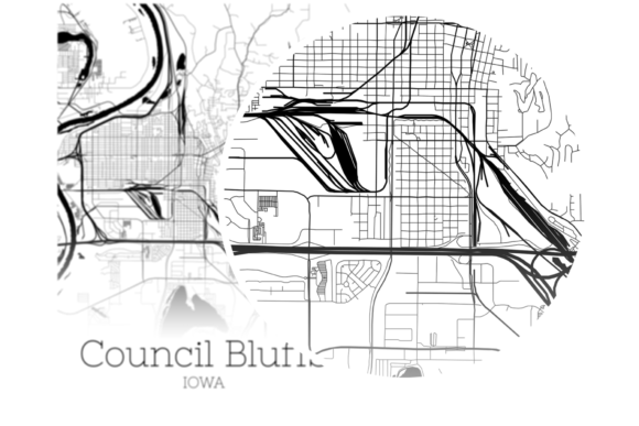 Download Free Council Bluffs Iowa City Map Graphic By Svgexpress Creative for Cricut Explore, Silhouette and other cutting machines.