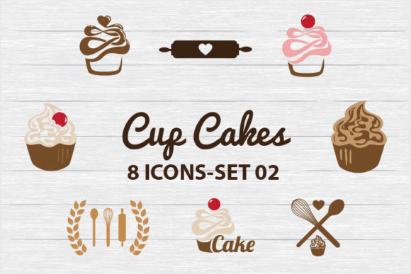 Download Free Cup Cakes 8 Icons Set 02 Graphic By Biljanacvetanovic for Cricut Explore, Silhouette and other cutting machines.
