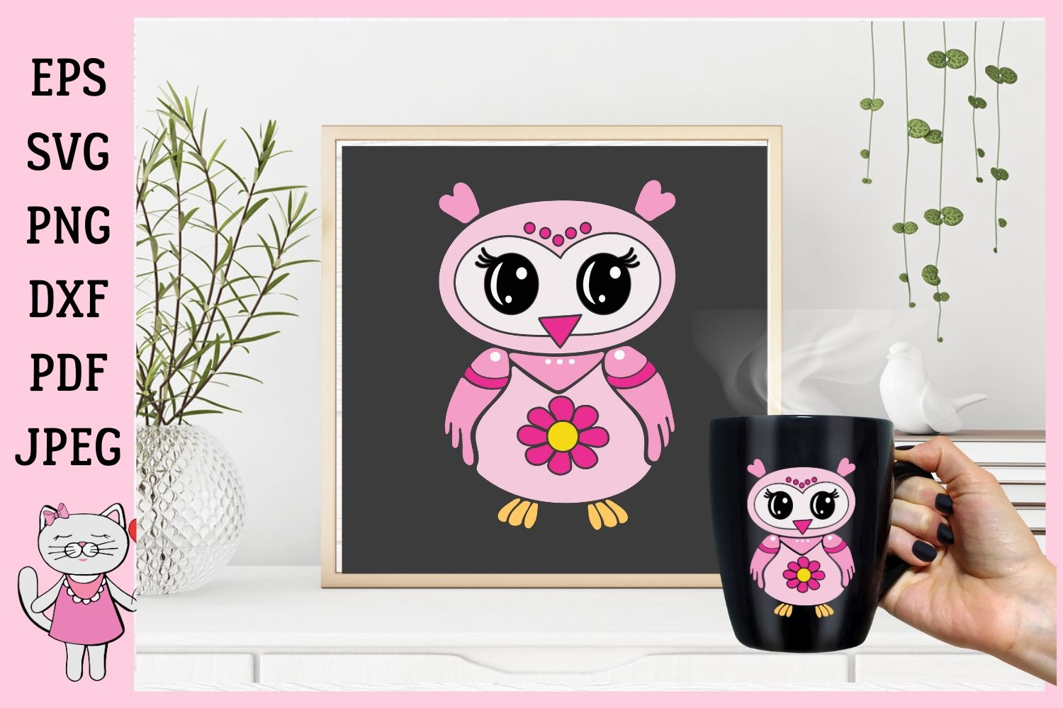 Download Free Cute Pink Owl Cliparts Graphics Graphic By Magic World Of for Cricut Explore, Silhouette and other cutting machines.