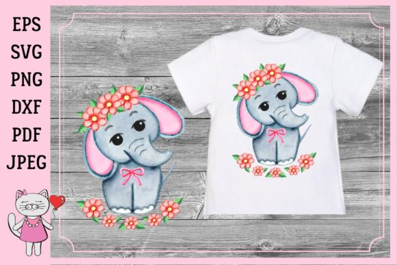 Download Free Cute Watercolor Girl Elephant Graphic By Magic World Of Design for Cricut Explore, Silhouette and other cutting machines.