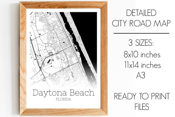 Print on Demand: Daytona Beach Florida City Map Graphic Photos By SVGExpress