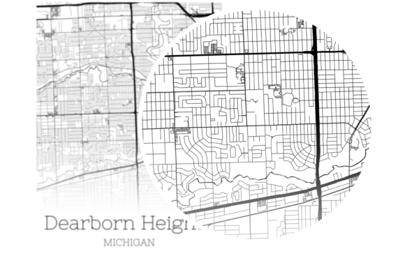 Download Free Dearborn Heights Michigan City Map Graphic By Svgexpress for Cricut Explore, Silhouette and other cutting machines.