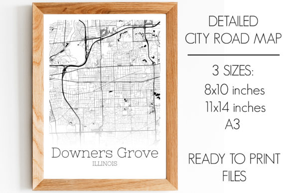 Print on Demand: Downers Grove Illinois City Map Graphic Photos By SVGExpress