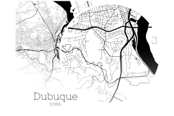 Download Free Dubuque Iowa City Map Graphic By Svgexpress Creative Fabrica for Cricut Explore, Silhouette and other cutting machines.
