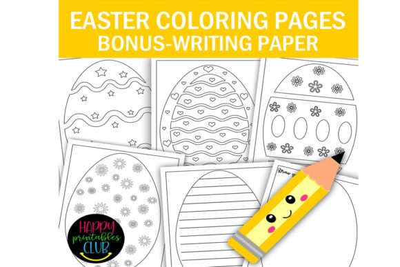 Easter Eggs Coloring Pages - Writing Paper Graphic Coloring Pages & Books Kids By Happy Printables Club
