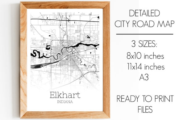 Download Free Elkhart Indiana City Map Graphic By Svgexpress Creative Fabrica for Cricut Explore, Silhouette and other cutting machines.