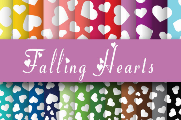 Download Free Falling Hearts Digital Paper Graphic By Oldmarketdesigns for Cricut Explore, Silhouette and other cutting machines.