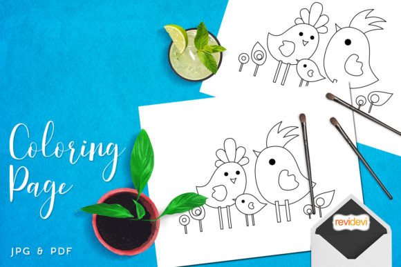 Download Free Family Birds Coloring Page Graphic By Revidevi Creative Fabrica for Cricut Explore, Silhouette and other cutting machines.