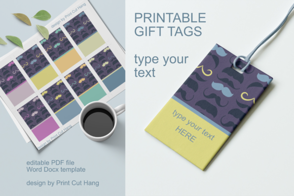 Print on Demand: Father's Day Mustache Gift Tags for Him Graphic Print Templates By print.cut.hang