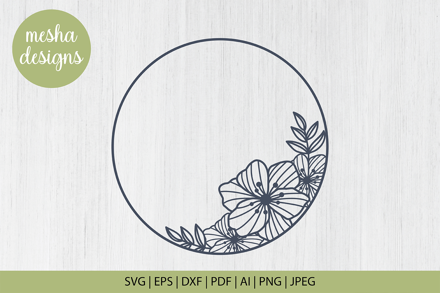 Download Free Flower Circle Frame Graphic By Diycuttingfiles Creative Fabrica for Cricut Explore, Silhouette and other cutting machines.