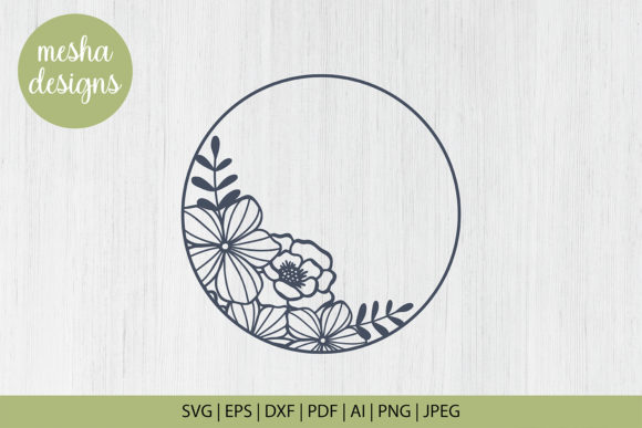 Print on Demand: Flower Circle Frame Cut File Graphic Crafts By DIYCUTTINGFILES